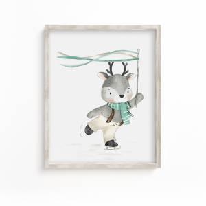 Poster Rentier Kinderposter Kinderzimmer Babyzimmer Geschenk Mädchen Geschenk Junge  Kinder Bild 1