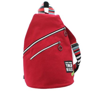 modischer, geräumiger Cross-Body-Bag aus trendigen roten Canvas, Rucksack