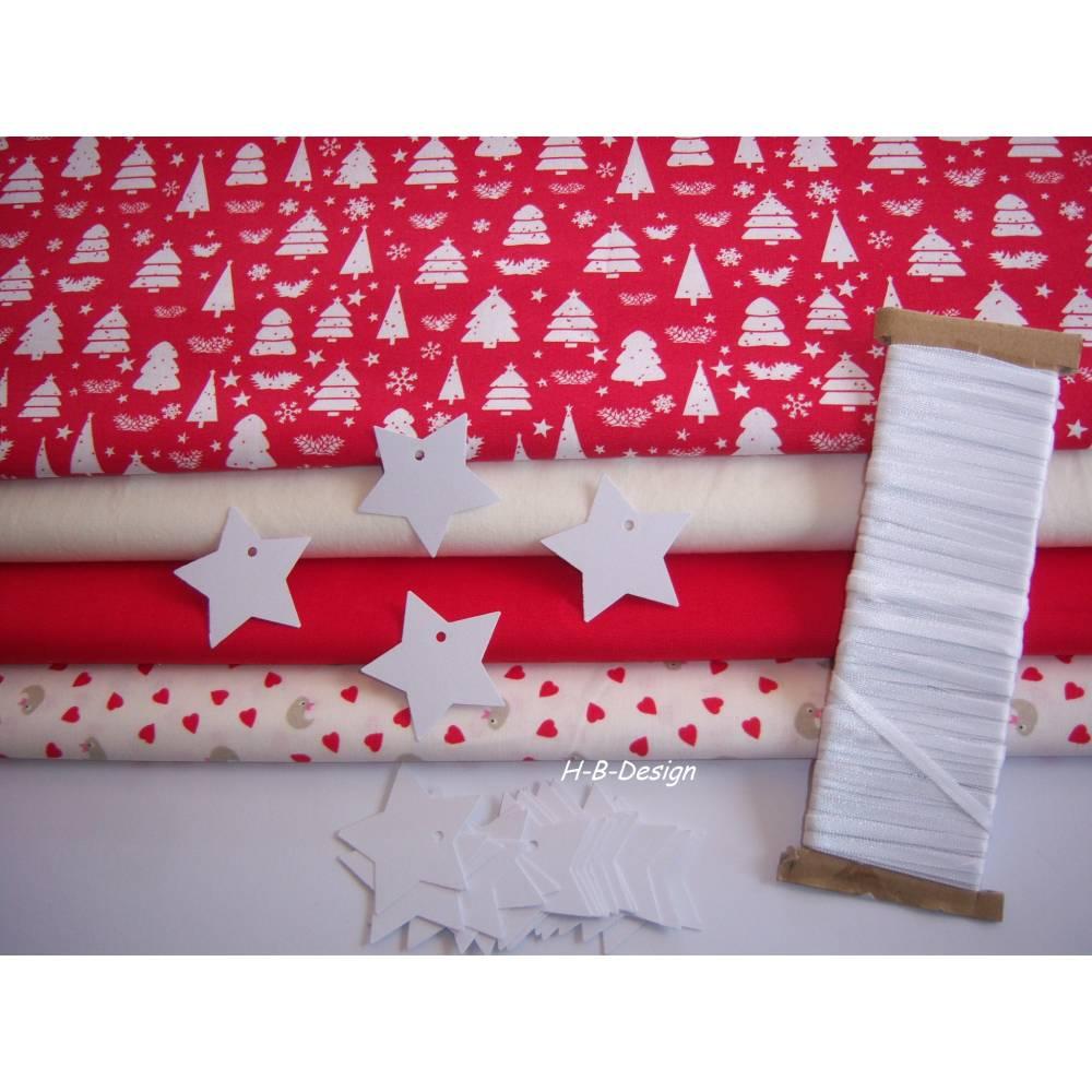 Diy-Nähset-Adventskalender nähen, Stoffpaket Adventskalender-Weihnachten-Tannen-Herzen-Beutel-Säckchen-Nähprojekt Bild 1