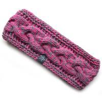Stirnband mit Zopfmuster von Hand gestrickt aus Baumwolle zweifarbig mit hellgrau, auf Wunsch mit Fleece gefüttert Bild 10