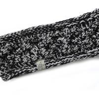 Stirnband mit Zopfmuster von Hand gestrickt aus Baumwolle zweifarbig mit hellgrau, auf Wunsch mit Fleece gefüttert Bild 3