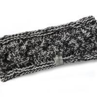 Stirnband mit Zopfmuster von Hand gestrickt aus Baumwolle zweifarbig mit hellgrau, auf Wunsch mit Fleece gefüttert Bild 4