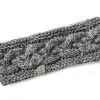 Stirnband mit Zopfmuster von Hand gestrickt aus Baumwolle zweifarbig mit hellgrau, auf Wunsch mit Fleece gefüttert Bild 5