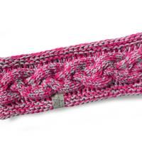 Stirnband mit Zopfmuster von Hand gestrickt aus Baumwolle zweifarbig mit hellgrau, auf Wunsch mit Fleece gefüttert Bild 6