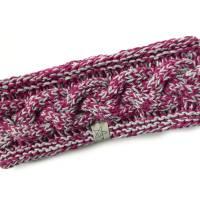 Stirnband mit Zopfmuster von Hand gestrickt aus Baumwolle zweifarbig mit hellgrau, auf Wunsch mit Fleece gefüttert Bild 7