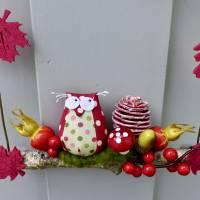 Herbst-Fensterdeko, Türkranz* mit Eule und Fliegenpilz auf Ast Bild 6