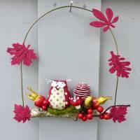 Herbst-Fensterdeko, Türkranz* mit Eule und Fliegenpilz auf Ast Bild 7