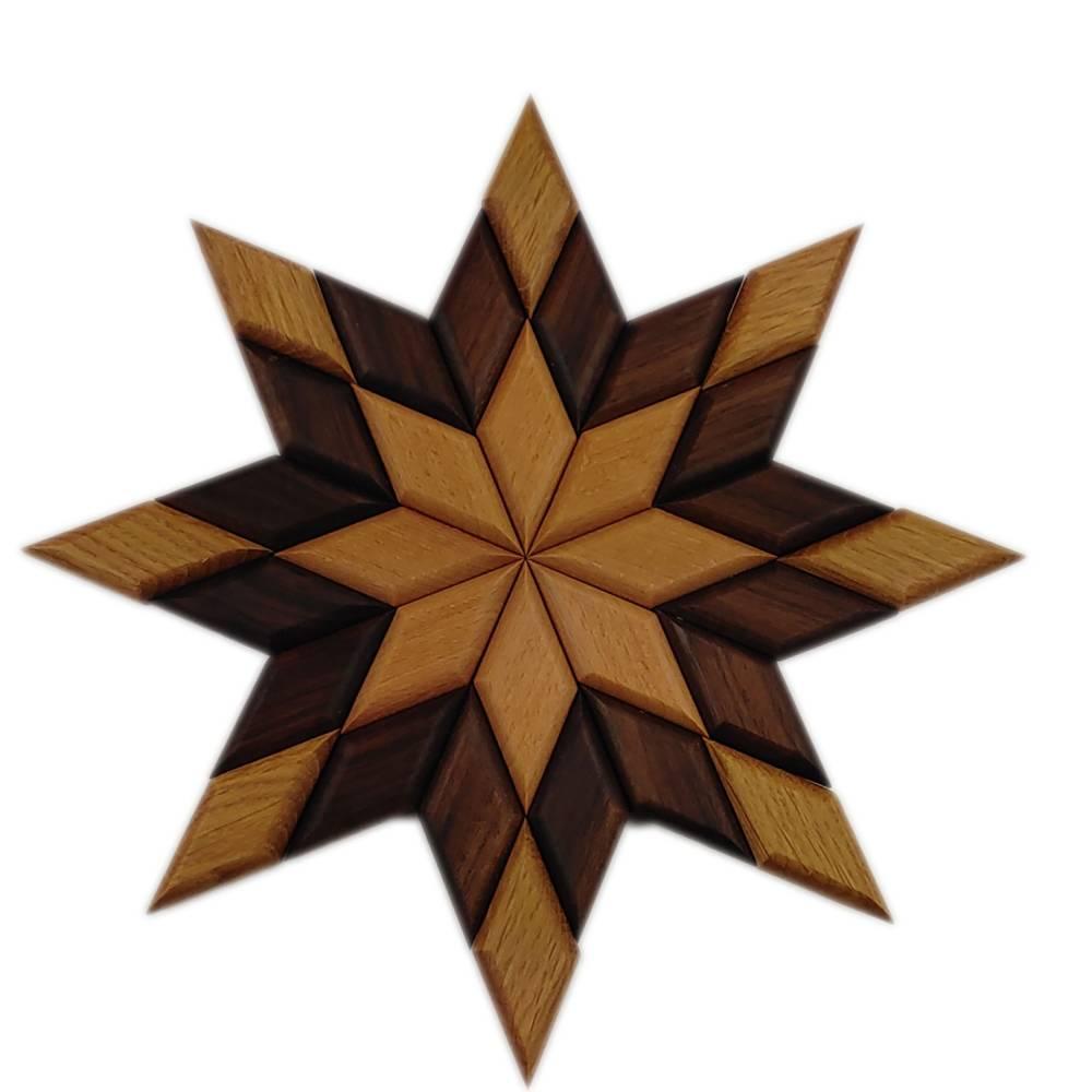 Stern aus Holz massiv Nussbaum Eiche Buche hangemacht Bild 1