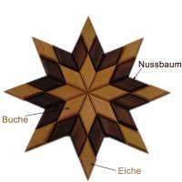 Stern aus Holz massiv Nussbaum Eiche Buche hangemacht Bild 3