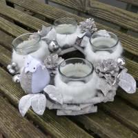 Adventskranz aus Holz in Natur-Weiß-Silber mit Eule Bild 4