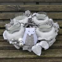 Adventskranz aus Holz in Natur-Weiß-Silber mit Eule Bild 5