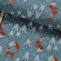 Alpenfleece Fuchs, Füchse, Schnee, Tannenbaum auf hellpetrol - swafing Bild 1