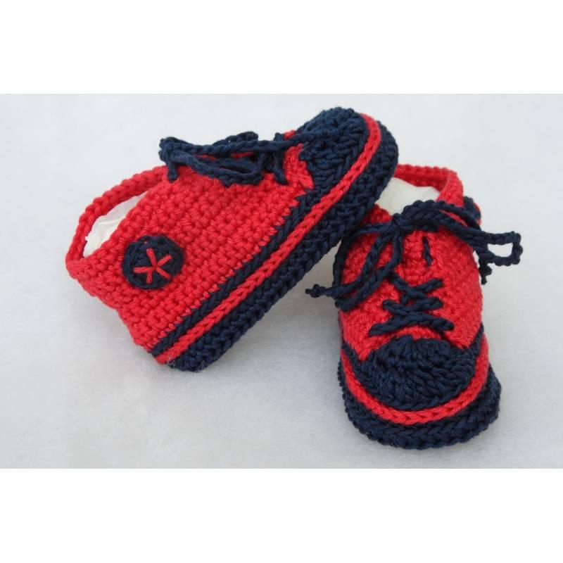 Babyschuhe rot blau 9cm Bild 1