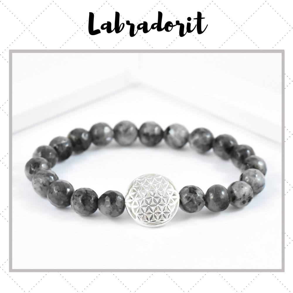 Labradorit Edelstein Armband 8 mm mit Blume des Lebens 925 Silber Bild 1