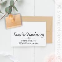 Kleiner Adresstempel - Paarstempel - Namensstempel - Familienstempel - mit Boot - Motiv 424 Bild 1