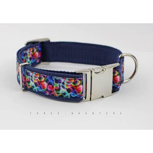 Hundehalsband, Hund, Halsband, Wellen, bunt, Regenbogen, Rauch, Muster, dunkelblau, edel, silber, Hunde, Welpe, modern, 30mm, Hundeleine
