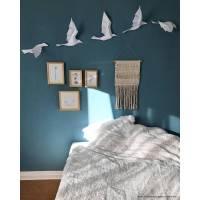 Paperwolf Vogelflug Bastelbogen. 5 Vögel Set, viele Farben zur Auswahl. Lebendige Wandskulptur Animation. Geometrisch modern kreativ Bild 1
