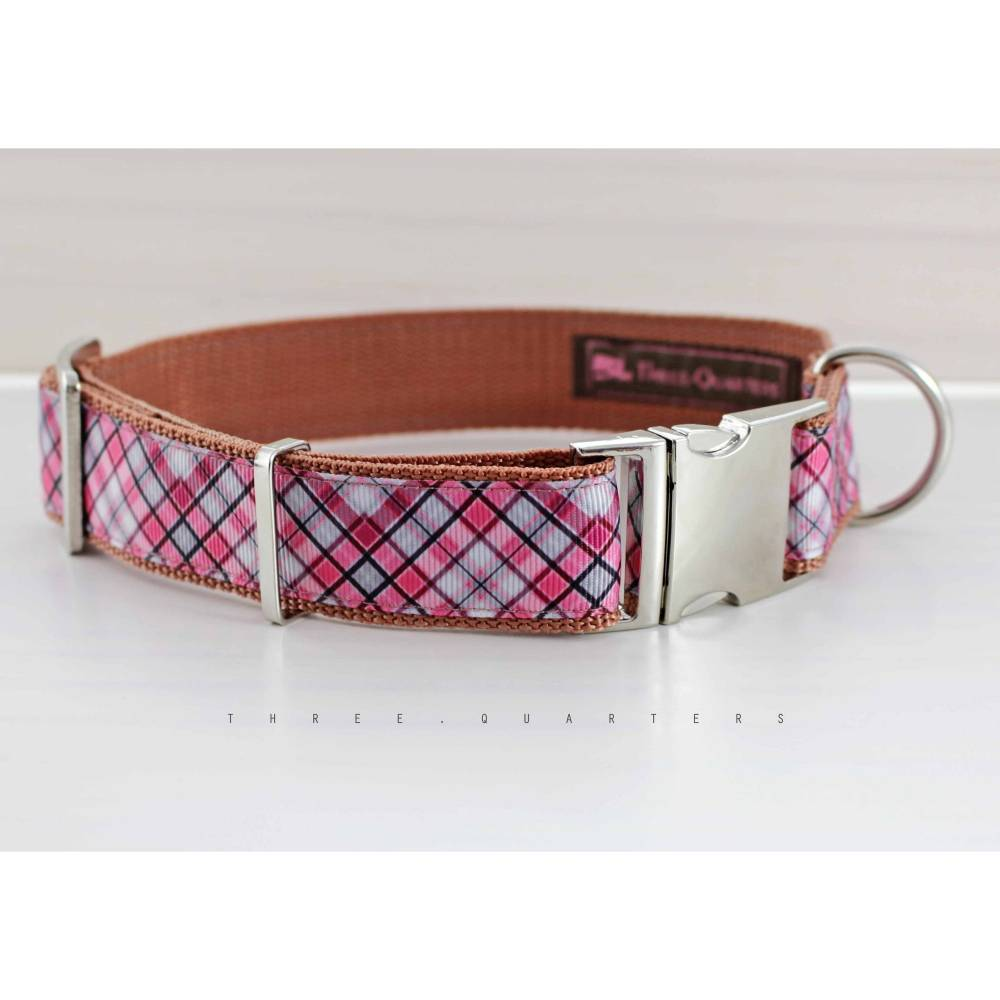Hundehalsband, Hund, kariert, rosa, braun, hellblau, pink, hellbraun, silber, Halsband, Hunde, Welpe, Muster, Karo, trendy, bunt Bild 1