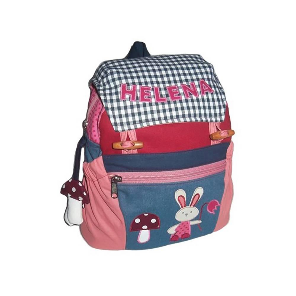 Kinderrucksack / Kindergartentasche Blumenhase mit Namen Bild 1
