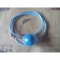 Wickelarmband  mit blauer Feder-Glaskugel Bild 1