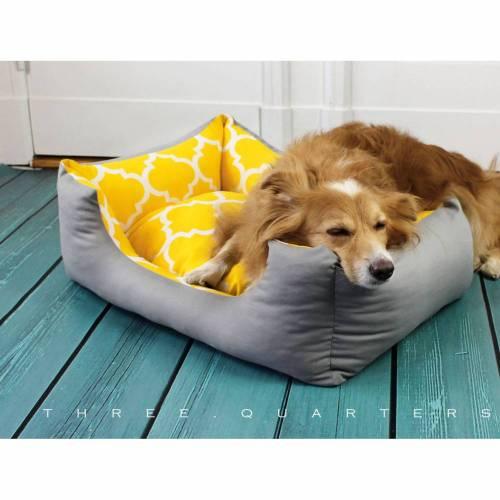 Hundebett, Katzenbett, gelb, grau, Muster, geometrisch, niedlich, Hund, Katze, Haustier, Hundekissen, gemütlich, waschbar, Kissen