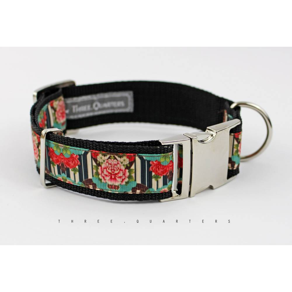 Hundehalsband, Hund, Halsband, Asia, Blumen, schwarz, türkis, rot, edel, silber, Hunde, Welpe, modern, 30mm, Hundebesitzer, Hundeleine Bild 1