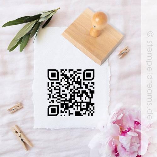QR-Code-Stempel - Holzstempel - mit  URL -  oder Text - individuell - Motiv: 435