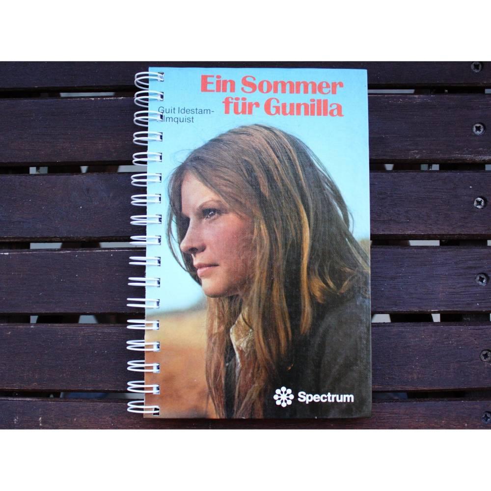 """Notizbuch """"Ein Sommer für Gunilla"""" aus altem Kinderbuch der 70er Jahre Bild 1"""