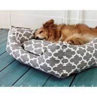 Hundebett, Hund, Katze, grau, weiß, Muster, geometrisch, hellgrau, gemütlich, weich, kuschelig, waschbar, Schlafplatz, Kissen Bild 1