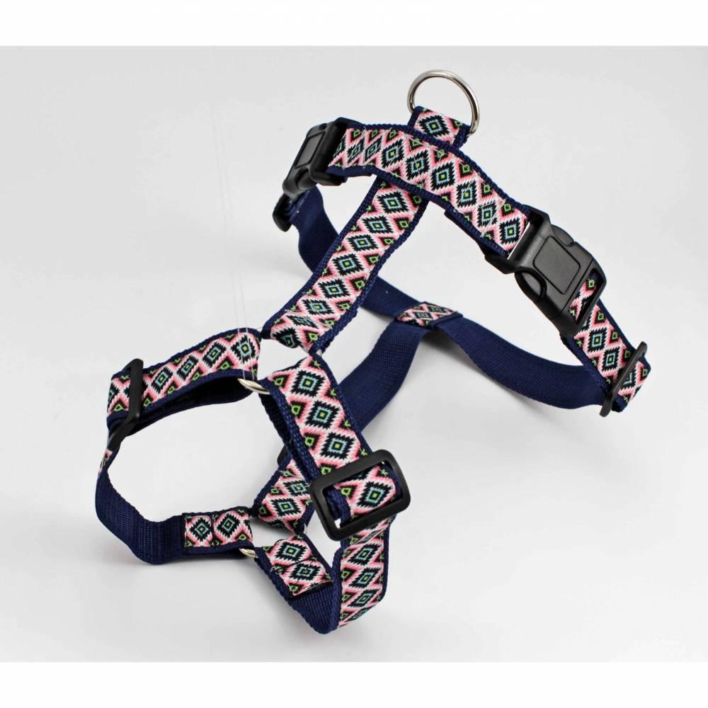 Hundegeschirr, Hunde, Indianer, geometrisch, Muster, blau, rosa, grün, Hund, Welpe, Raute, Haustier, modern, edel, elegant, dunkelblau Bild 1