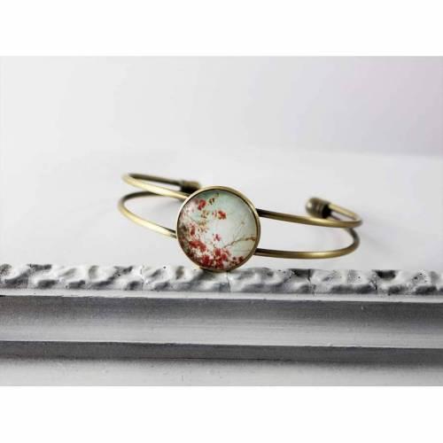 Armband Armreif mit Kirschblüten,türkis rosa fuchsia rot, nostalgisch shabby Fassung in bronze mit Glasstein,Japan Hipster