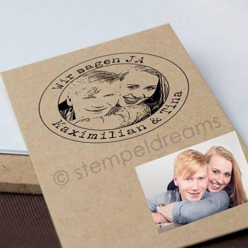 Hochzeitsstempel mit deinem Foto - Portraitstempel aus Holz mit Ihrem Foto - mit Text - Fotostempel - Bilderstempel - Motiv: 308