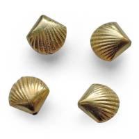Perle gold Muschel 925 Sterlingsilber vergoldet Anhänger Focal maritim 17 mm DIY Charm Meer Jakobsmuschel Metallperle Bild 1