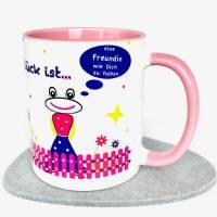 Tasse rosa, Geschenk beste Freundin, 3-teilig, Glück ist eine Freundin wie Dich zu haben Bild 1