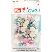 Druckknöpfe Color Snaps 12,4 mm Cremeweiß Rosa  Bild 1