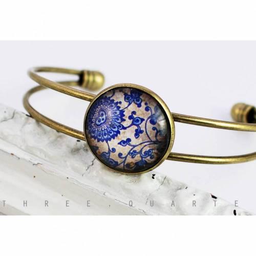 Armreif, Hippie, boheme, blau, beige, Blumen, antik, bronze, Metall, Glas, Muster, nostalgisch, boho, dunkelblau, retro, romantisch, orient