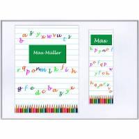Set Heftumschlag A5, Schutzhülle  für Hausaufgabenheft /Schulheft mit Lesezeichen, Buntstifte, Name  Schulkind Bild 1