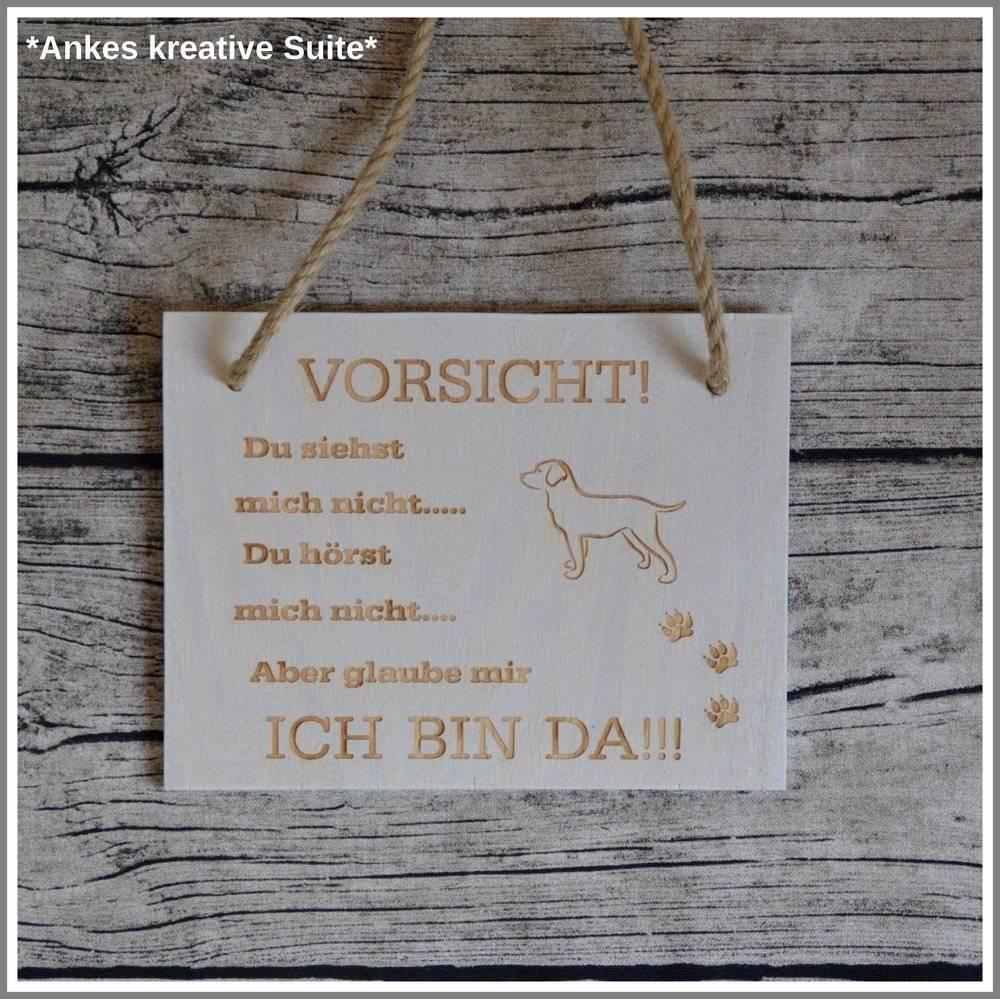 Hund Türschild Familie Holz Gravur Bild 1