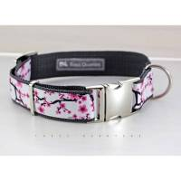 Hundehalsband, Hund, Kirschblüten, rosa, weiß, dunkelgrau, Hunde, Halsband, Welpe, grau, Gurtband, silber, Blumen, romantisch, boho Bild 1