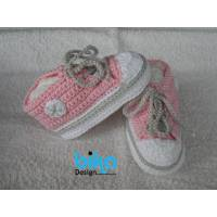 Babyschuhe rosa grau weiss 9cm Bild 1