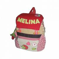 Kinderrucksack / Kindergartentasch Erdbeere mit Namen Bild 1