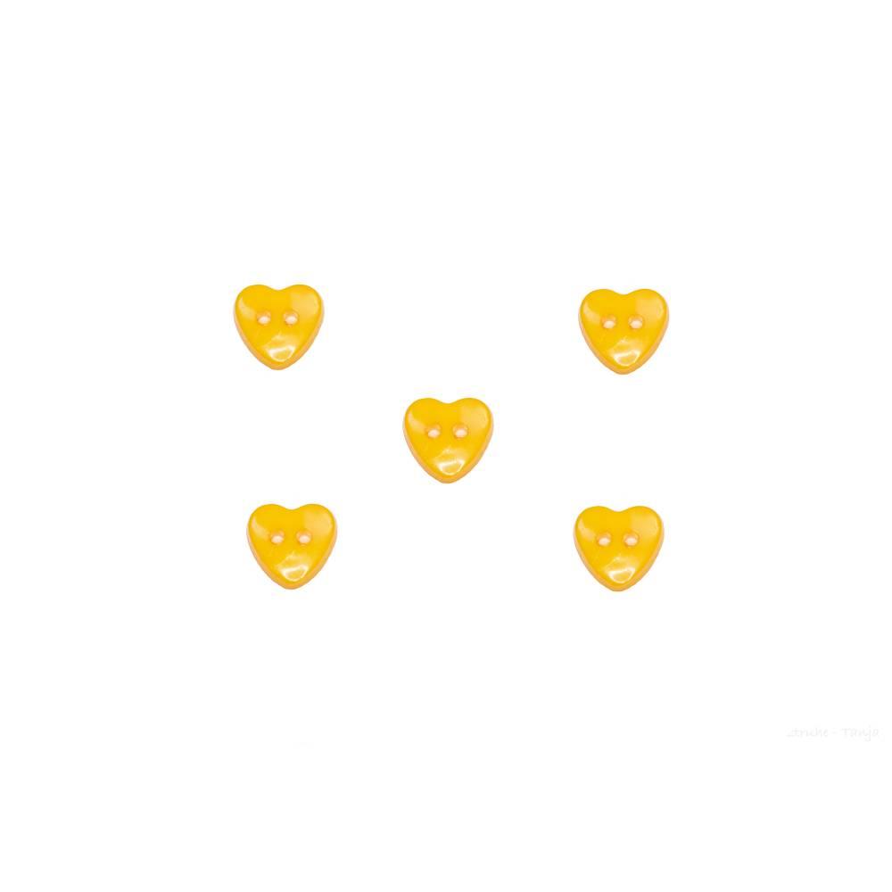 Kinderknöpfe Herzen als Kunststoffknöpfe in dunkelgelb 13 mm Bild 1