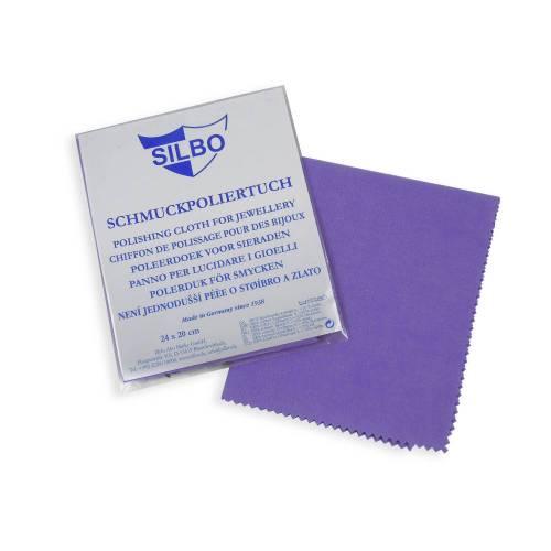 Silbo Schmuckpoliertuch Schmuckpflege Silberpoliertuch Schmuckreinigung 24 mal 20 cm Pflege violett Reinigung Saubermachen Säubern
