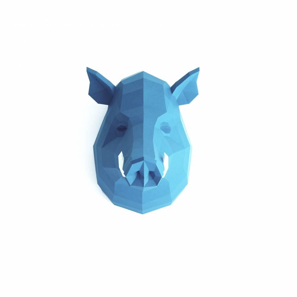 Wildschwein Papierskulptur von Paperwolf. Farbe individualisierbar, DIY Bausatz, Bastelbogen Eber Trophäe aus Papier Bild 1