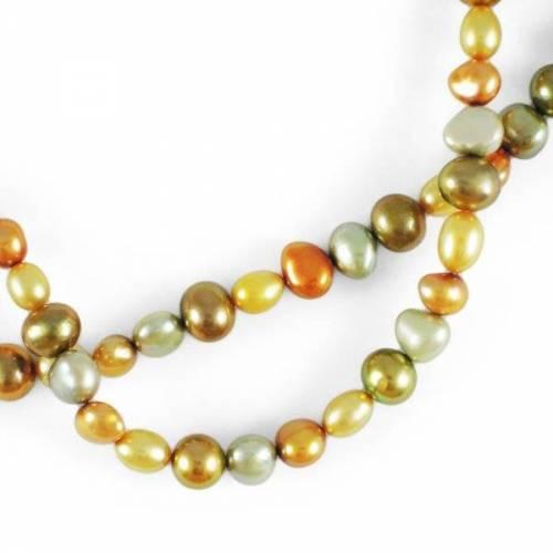 Zuchtperlen dreifarbig grün gold orange Strang 45 cm warme Farben Perlenkette Perlen Kette DIY Collier Herbstfarben mehrfarbig bunt elegant