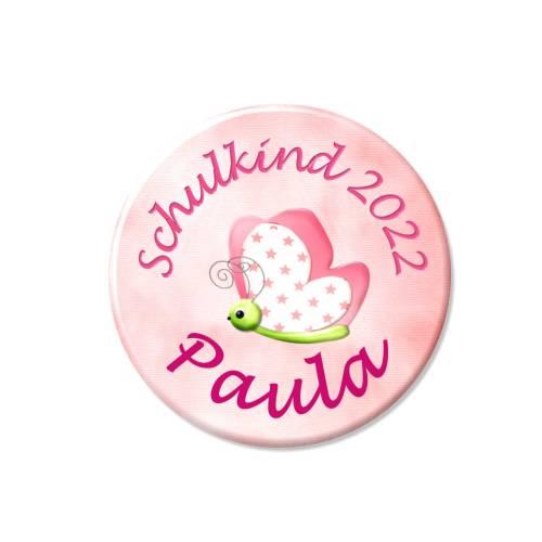 Button Schulkind, personalisiert, Schultüte, Schmetterling, Wunschtext, Wunschnamen