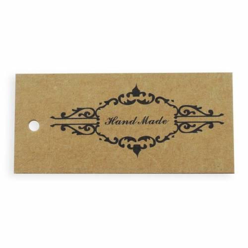 Hängeetiketten HAND MADE Kraftpapier mit Ornament Muster Geschenkanhänger Preisschild Scrapbooking Label DIY Basteln blanko Rückseite