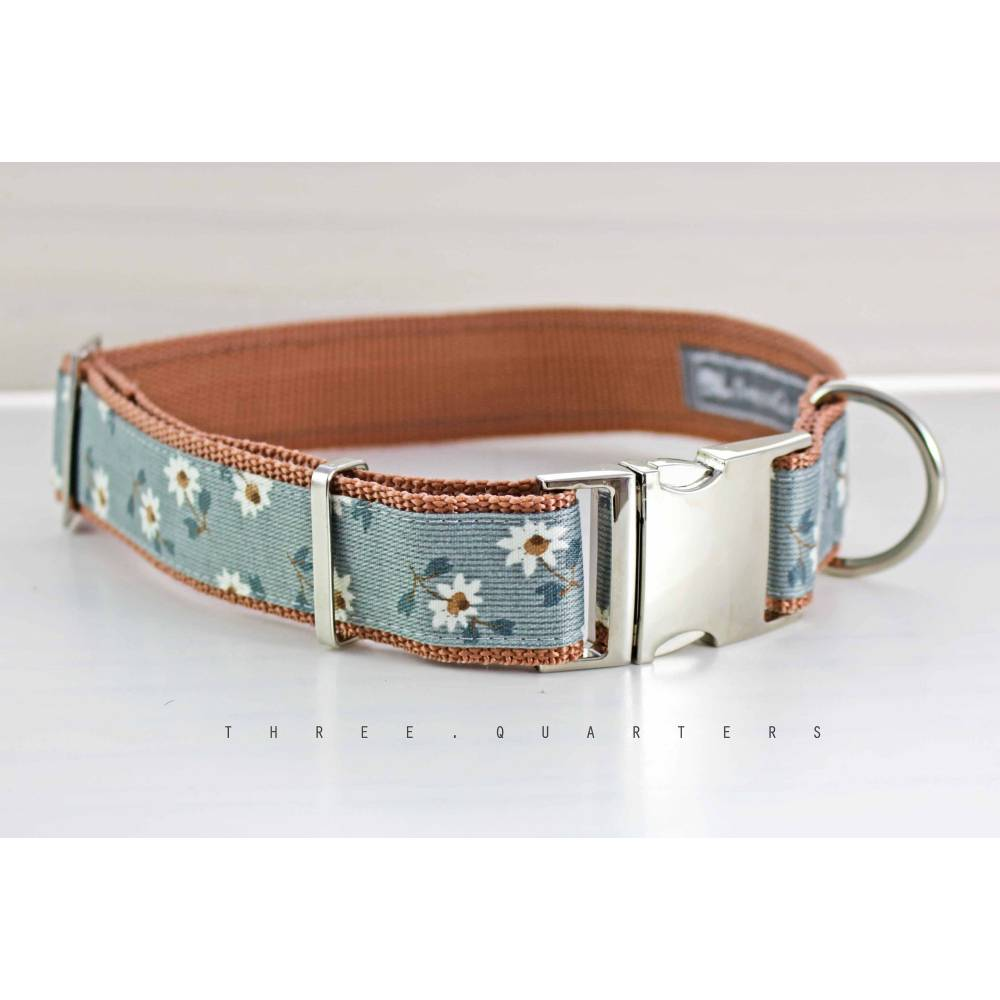 Hundehalsband, Hund, Halsband, Blumen, grau, hellbraun, 30mm, silber, rotbraun, Blüten, Hunde, Welpe, niedlich, elegant, edel, braun Bild 1