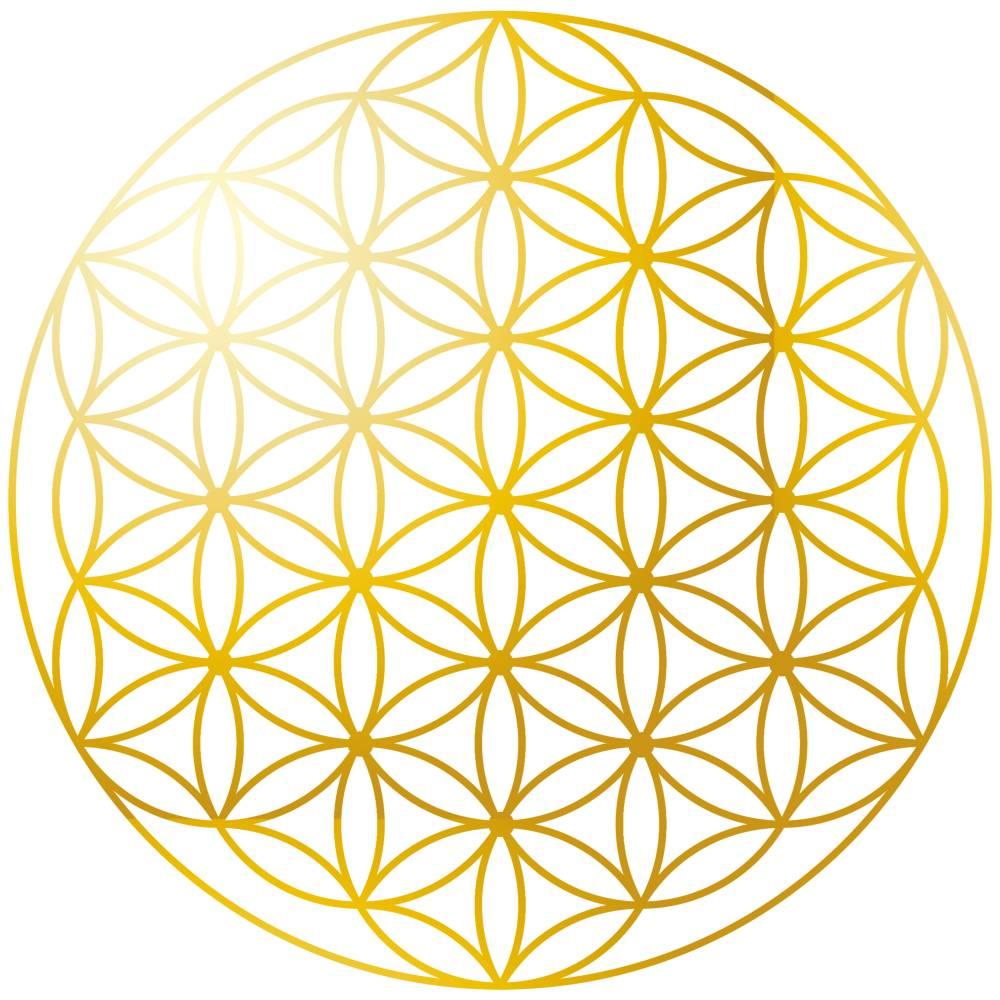 Blume des Lebens Aufkleber, Sticker mit abriebfester Goldfolie, 5 cm Durchmesser Bild 1