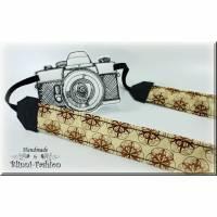 Kameragurt CIRCLE in beige braun, Kameraband für Spiegelreflex- oder Systemkamera, Kameratasche Bild 1